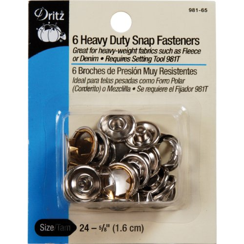 Big Save! Dritz Heavy Duty Snap Fasteners-Nickel - Size 24 - 5/8 Inch - 6 Count
