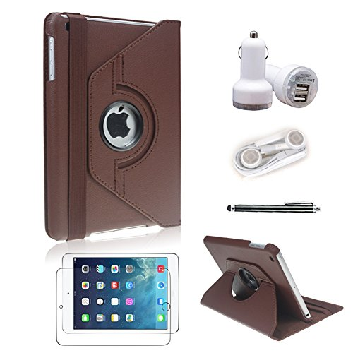 [5 In 1 Bundle] Icrown 2014 New Arrival Top Quality Pu Leather Cover Case (Black) For Ipad Mini / Ipad Mini 2 - 360 Degree Rotating ¨C Multi Angle Stand - Auto Sleep / Wake Function With Stylus Pen, Screen Protector, Car Charger And Earphone (Brown 5In1)