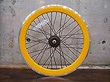 イエロー 20インチ ※自転車ホイール リアホイール単品 シングルスピード ピストバイク ミニベロ