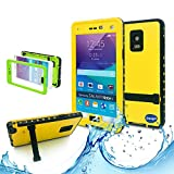 Samsung galaxy Note 4 IP-68 Untra Kick-stand Waterproof Case Cover ,Nika shop Swimming Diving New Full Body Crystal 6.6 Ft Underwater Attached Screen Protector Waterproof Water Resistant Heavy Duty Slim Case Cover for Samsung galaxy Note 4 Phone, Rugged Hard Armor Underwater Durable Full Body Sealed Protection Skin Pouch dirtproof dustproof Snowproof Sweatproof Shockproof Hard Armor Protective Heavy Duty Defender Built-in Screen Protector Rugged Cover Case for Samsung galaxy Note 4 +Free Screen Protect + Hand Strap - Retail Packaging (Nika shop-Yellow)