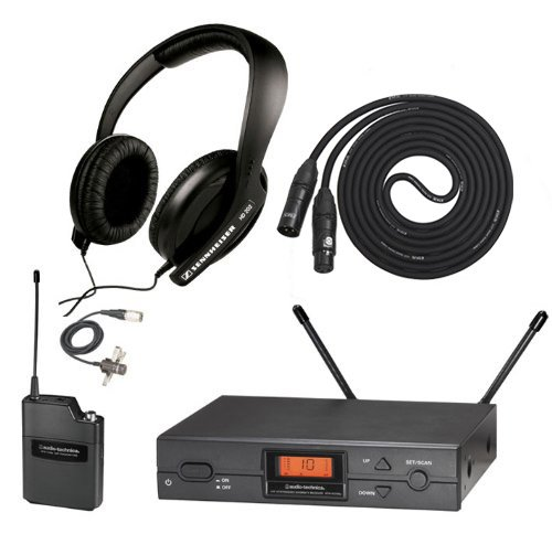 Audio Technica Atw-2129A Wireless Lavalier Uhf System In Band I With Sennheiser Hd 202-Ii Headphones And 25Ft Xlr Microphone Cable
