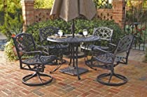 Big Sale Home Styles 5554-325 Biscayne 5-Piece Outdoor Dining Set, Black Finish, 48-Inch