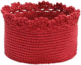 Heritage Lace Mode Crochet Round Basket with Crochet Edge 6 by 4-Inch Ruby Red Set of 2