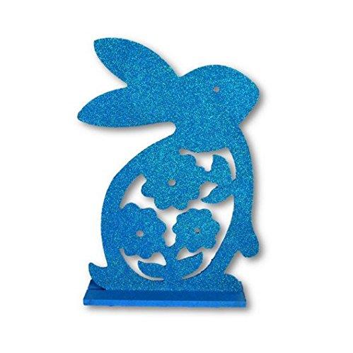 Glitter Easter Bunny Centerpiece - Blue - 1