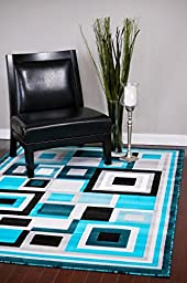 3285 Turquoise 5\'2 x 7\'2 Modern Abstract Area Rug Carpet