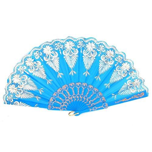 Glittery Decor poudre imprimé floral vague bord pliable Éventail Bleu