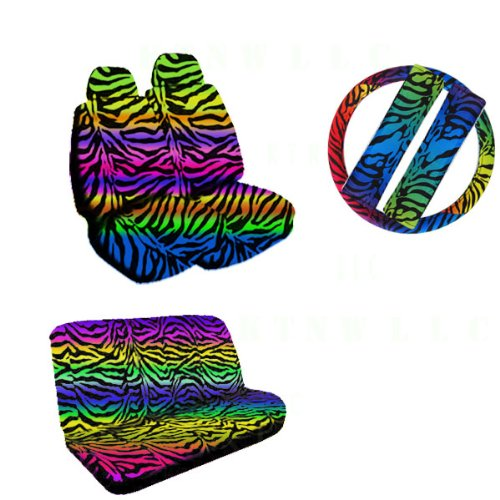 11 Pieces Auto Seat Covers Gift Set: 2 Low Back Front Bucket Seat Covers With Separate Headrest Cover, 1 Steering Wheel Cover, 2 Shoulder Harness Pressure Relief Cover, And 1 Bench Cover - Rainbow Zebra