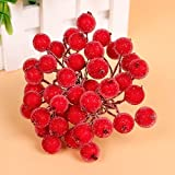 Mini Berry Christmas Frosted Artificial Flower Home Decor (5 Bunch 200pcs) - Red, 12 IN