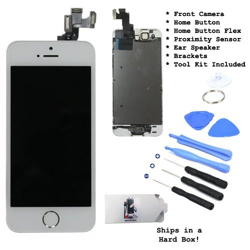 Lcd Display Touch Screen Glass Digitizer Assembly With Spare Parts (Home Button & Camera & Flex Cable) For Iphone 5S White