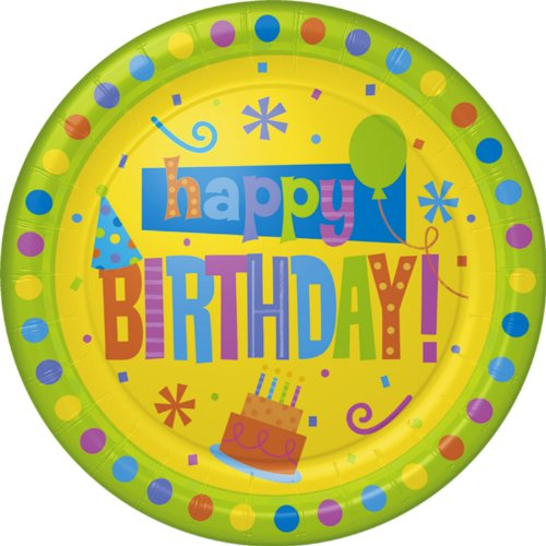 Birthday Fun Dots Dinner Plate (8 per package) - 1