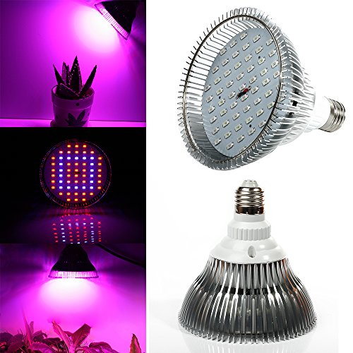 Lvjing® High Power 58W E27 Screw Base Led Plant Grow Light Bulb 40Red + 18Blue Led Lights For Plants In Garden Greenhouse Indoor Hydroponic System Kit