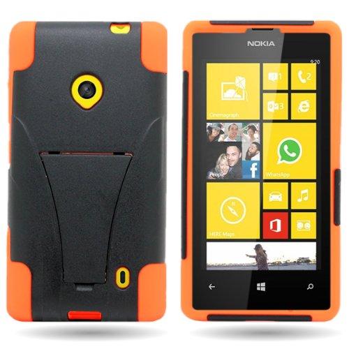 Coveron® Kickstand Hard + Soft Dual Layer Hybrid Case For Nokia Lumia 521 - Black Hard Orange Soft Silicone