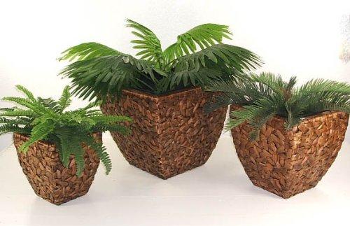 """Blumenkübel Pflanzkübel Pflanzgefäße Übertöpfe Blumentöpfe aus Wasserhyazinthe 45/37/27 cm hoch, """"Wild Design"""" Braun"""