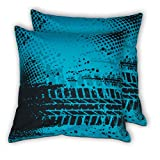House This Bike-Tyretracks Blue Set Of 2 Cushion Covers- 16 X 16