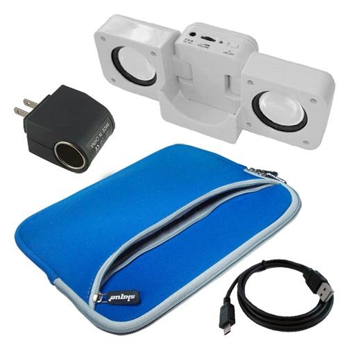 Premium BLUE Dual Pocket Carrying Bag + Speak Fold-up Docking Station WHITE + Micro USB DATA Straight Cable + AC HOME/ DC CAR Power Converter for Sony Tablet S 9.4