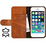 """Stilgut Ledertasche """"Talis"""" Book Type Case V2 für Apple iPhone 5 & iPhone 5s aus echtem Leder mit Fach für Kredit- oder Visitenkarten (cognac braun)"""