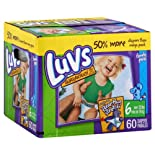 Luvs Diapers, Size 6 (Over 35 lb), Blue's Clues, Family Pack, 60 ct.