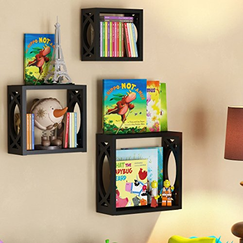 Children's Square Cube Wall Shelves Set 3 Pcs - Display Kids Favorite Books, Photos, and More - Beautifully Carved Side Panels and Open Back Design (Black) (Cube Storage Display compare prices)