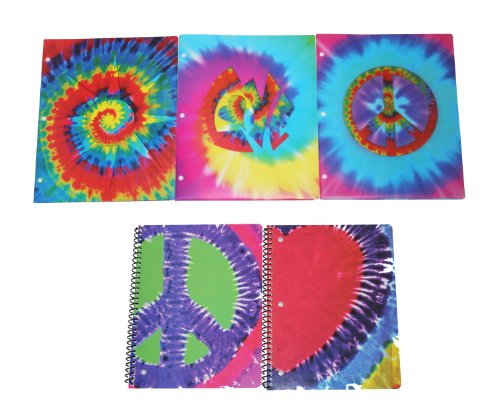 Tye-Dye Ultimate Back To School Set includes Folders and Spirals