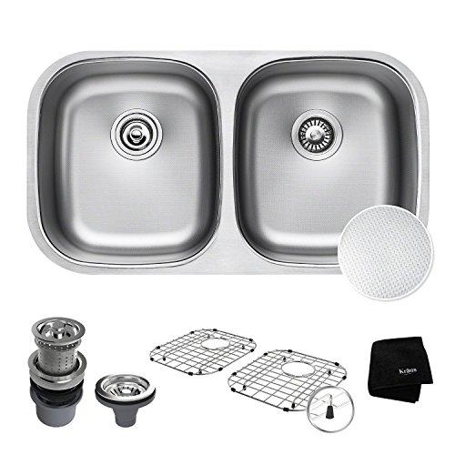 Great Features Of KRAUS Outlast MicroShield Scratch-Resist Stainless Steel Undermount 50/50 Double Bowl Sink, 32″ 16 Gauge, Premier Series KBU22E