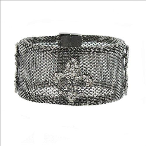Mesh Design W Fleur De Lis Accent Bracelet #039386