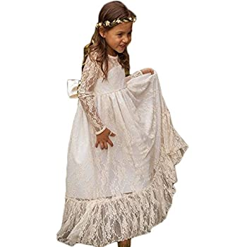 Wallbridal Vintage Long Sleeves Soft Princess Lace Flower Girl Junior Girl Dress