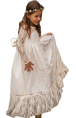 Wallbridal Vintage Long Sleeves Soft Princess Lace Flower Girl Junior Girl Dress 1
