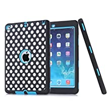 buy Ipad Air 2 Case - Defender Series Ipad Air 2 Armor Case Hybrid Pc / Tpu Tough Hybrid Three Layer Full Body Protective Case Cover For Ipad Air 2 (2014) 6Th Generation Classic Dot-Blue