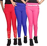 Xarans Stylish Looking Cotton Lycra Net, Button, Zip Jegging Set of 3 Pcs