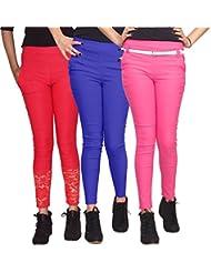 Xarans Stylish Looking Cotton Lycra Net, Button, Zip Jegging Set Of 3 Pcs - B01KJJA2HC
