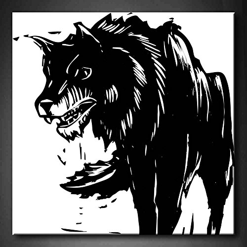 Black And White & Red White And Black Big Bad Wolf Wall Art Painting Pictures Print On Canvas Animal The Picture For Home Modern Decoration (Stretched By Wooden Frame,Ready To Hang)