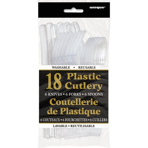 Clear Plastic Cutlery Set For 6