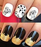 NAIL ART SET #467. A SHEET OF WATER NAIL TRANSFERS & A LARGE GOLD LEAF SHEET FOR CUSTOM DESIGNED NAIL! 101 SPOTTY DALMATION CUTE PUPPIES DOGS SPOT PUPPY PRINT LUCKY/ROLLY/PATCH WATER WRAP/STICKERS/DECALS & STUNNING 24KT GLIZZY GOLD LEAF FOR FULL HOLLYWOO