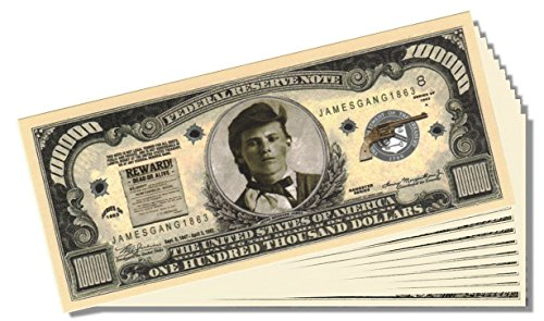 Jesse James Million Dollar Bill - 25 Count with Bonus Clear Protector & Christopher Columbus Bill