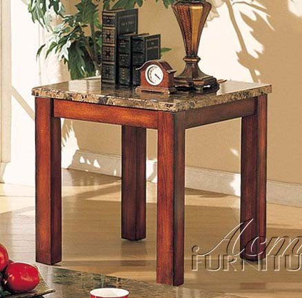 Cheap End Table with Marble Top Dark Brown Finish (VF_AM7373)