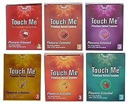 Touch Me Premium Dotted Condoms (6 Packs x 3 Condoms, Strawberry, Orange, Bubblegum, Chocolate, Vanilla and Wine Flavors)