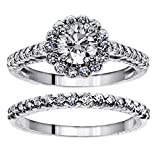 1.70 CT TW Halo Diamond Engagement Bridal Ring Set in 14k White Gold