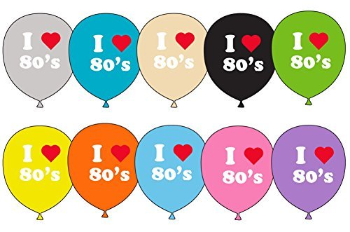 10 x 12 inch I Loveheart the 80's Party Balloons