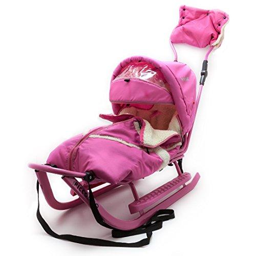 Baby Schlitten Piccolino Komfort Rosa Pink Kinderschlitten Rodel zum Schieben