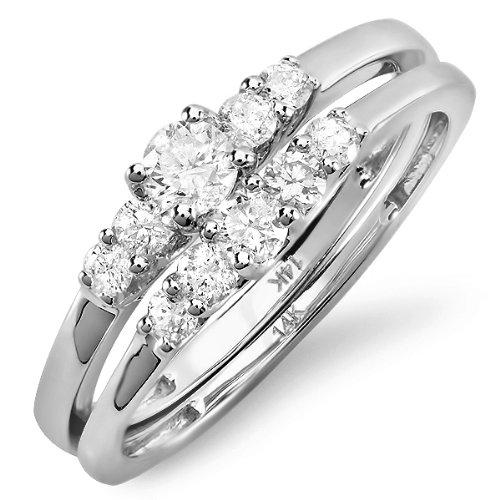 0.60 Carat (ctw) 14K White Gold Round White Diamond Engagement Bridal Ring Set