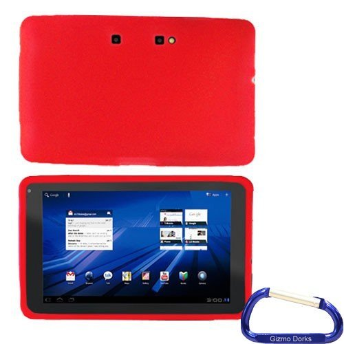 Gizmo Dorks Silicone Skin Case (Red) with Carabiner Key Chain for the T-Mobile LG G-Slate Tablet