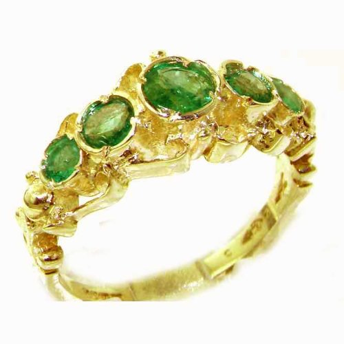 Solid 14K Yellow Gold Genuine Natural Emerald Ring of English Georgian Design - Size 9.75 - Finger Sizes 5 to 12 Available - Perfect Gift for Birthday, Christmas, Valentines Day, Mothers Day, Mom, Mother, Grandmother, Daughter, Graduation, Bridesmaid.