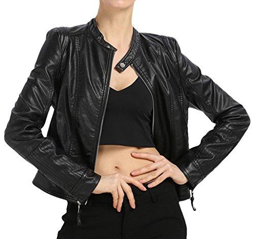 EOZY-Giacca da Donna Giubbotto Corto Moto Stile Stand Collar Nero in PU Pelle Petto di 97cm