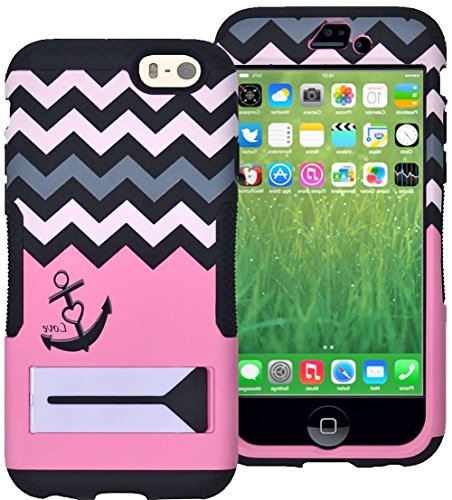 "Mylife Light Love Pink {Anchor With Kick-Stand Design} Neo Hybrid Armor Case For The New Iphone 6 (6G) 6Th Generation Phone By Apple, 4.7"" Screen Version (Two External Snap On Hard Protector Plates + Full Body Internal Soft Silicone Bumper Gel Protection) front-344540"