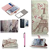 ATC Lumsing(TM) Art Series Vintage Retro Paris France Eiffel Tower & Girls PU Leather Wallet Type Magnet Design Flip Case Cover Credit Card Holder Pouch Case for IPhone 5 iPhone 5S with Screen Protector+ Stylus (Wallet case Eiffel Tower & Flowers)