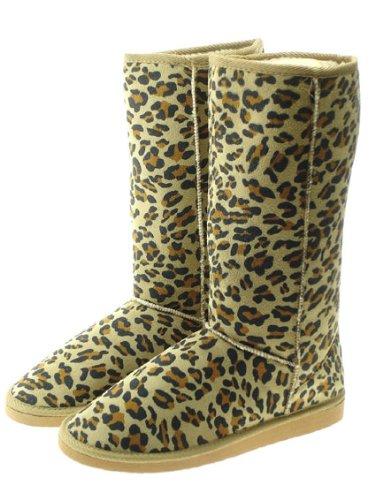 Couture Discount Damenstiefel Fell Boots, Winterstiefel, Leopard, braun (WST1), Gr. 37