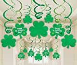 St. Patricks Day Hanging Swirl Decorations with Cutouts Party Accessory