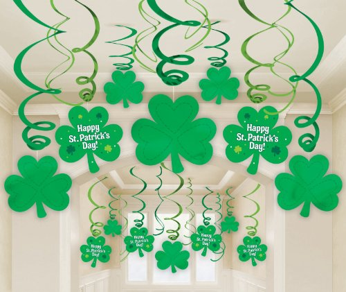 Amscan - St. Patrick's Day Hanging Swirl Decorations with Cutouts