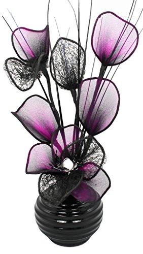 Flourish TW 813 - Vaso con fiori finti in mesh, 32 cm, colore: nero/viola
