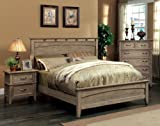 Furniture of America Vine II Rustic Style Solid Wood Bed, Queen, Reclaimed Oak